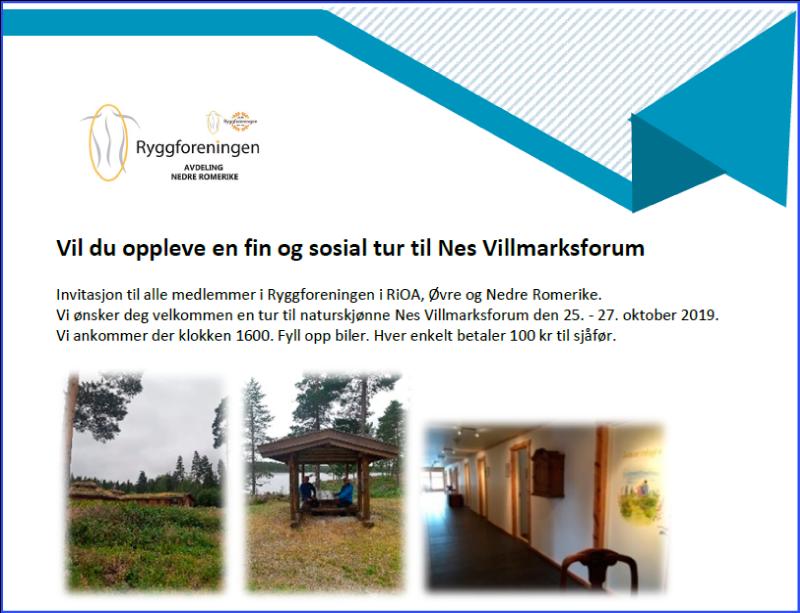 TUREN ER AVLYST – Ryggforeningen i RiOA, Øvre og Nedre Romerike inviterer til sosial tur til Nes Villmarksforum 25. – 27. oktober 2019