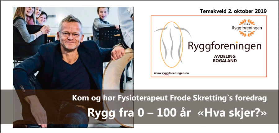 Ryggforenings avd. Rogaland inviterer til temakveld 2. okt. 2019