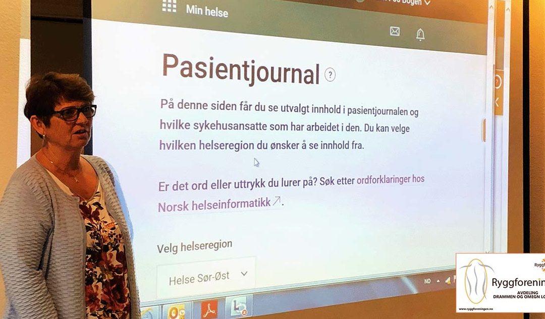 Ryggforeningens avdeling Drammen & omegn har hatt medlemsmøte 12. september 2019