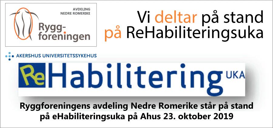 Ryggforeningens avd. Nedre Romerike deltar på stand på ReHabiliteringsuka på Ahus 23. okt 2019