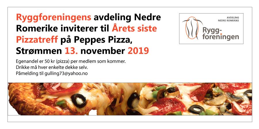 Ryggforeningens avd Nedre Romerike inviterer til Årets siste Pizzatreff på Peppes Pizza, Strømmen 13. nov 2019