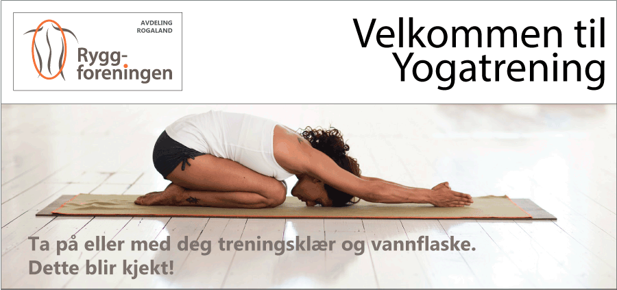 Ryggforenings avd Hordaland inviterer til Yogatrening 26. okt 2019