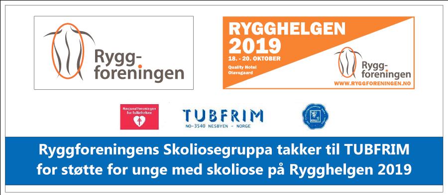 Ryggforeningens Skoliosegruppa takker til TUBFRIM for støtte for unge med skoliose på Rygghelgen 2019