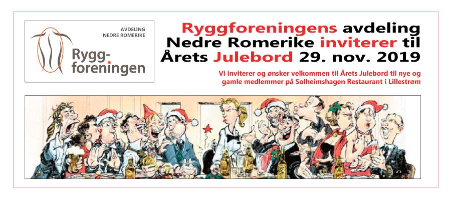Ryggforeningens avdeling Nedre Romerike inviterer til Årets Julebord 29. nov. 2019