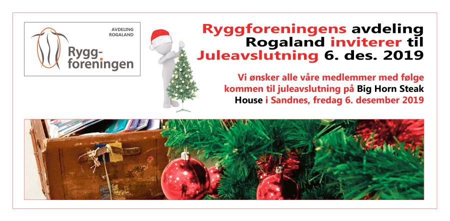 Ryggforenings avd. Rogaland inviterer til juleavslutning 6. des 2019