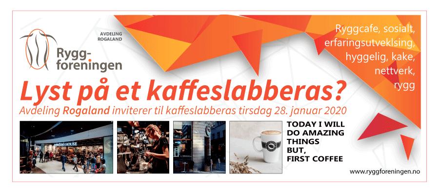 Ryggforenings avdeling Rogaland inviterer til kaffeslabberas tirsdag 28. januar 2020