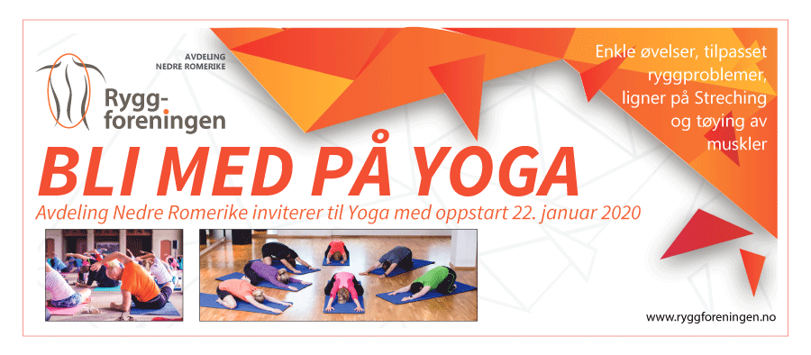 Ryggforenings avdeling Nedre Romerike inviterer til Yoga med oppstart onsdag 22. januar 2020
