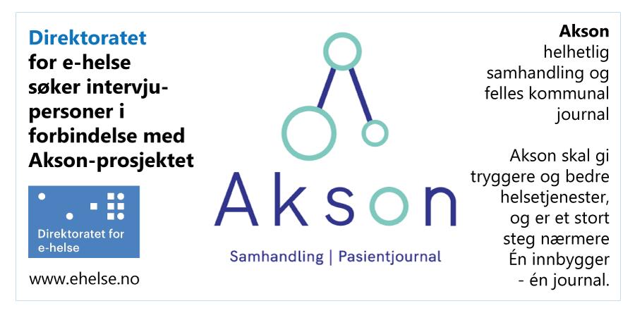 Direktoratet for e-helse søker intervjupersoner i forbindelse med Akson-prosjektet