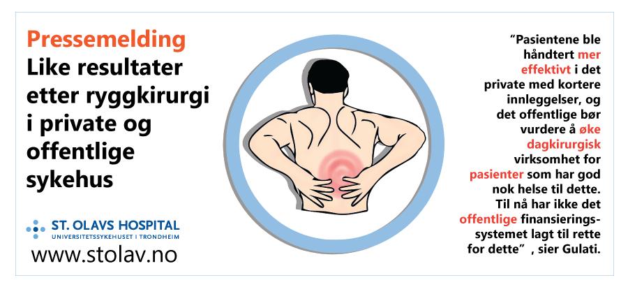 Pressemelding: Like resultater etter ryggkirurgi i private og offentlige sykehus